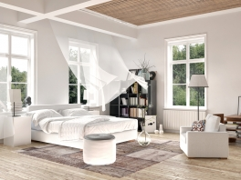 Bright white luxury rendered bedroom interior with blowing curtains on tall windows above a comforta